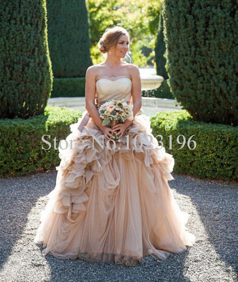 Cheap Champagne Tulle Rustic Wedding Dresses Vintage