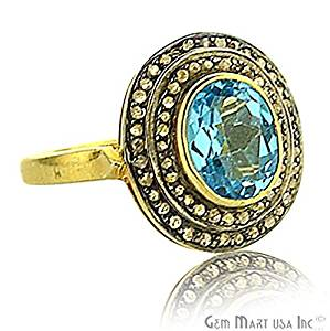 Victorian Estate Ring, 3.10 cts Natural Blue Topaz, With 0.42 cts of Diamond as Accent Stone (DR-12048)