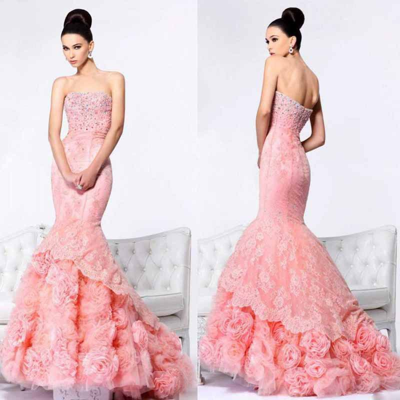 Pink Flower Long princess sexy mermaid wedding dresses 2014 vestido de noiva 2014 sereia sexy lace wedding dresses 2014 sexy