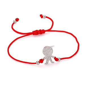 gold plated cz micro pave costume jewelry handmade boys charm accessories red rope bracelets bangles jewellery