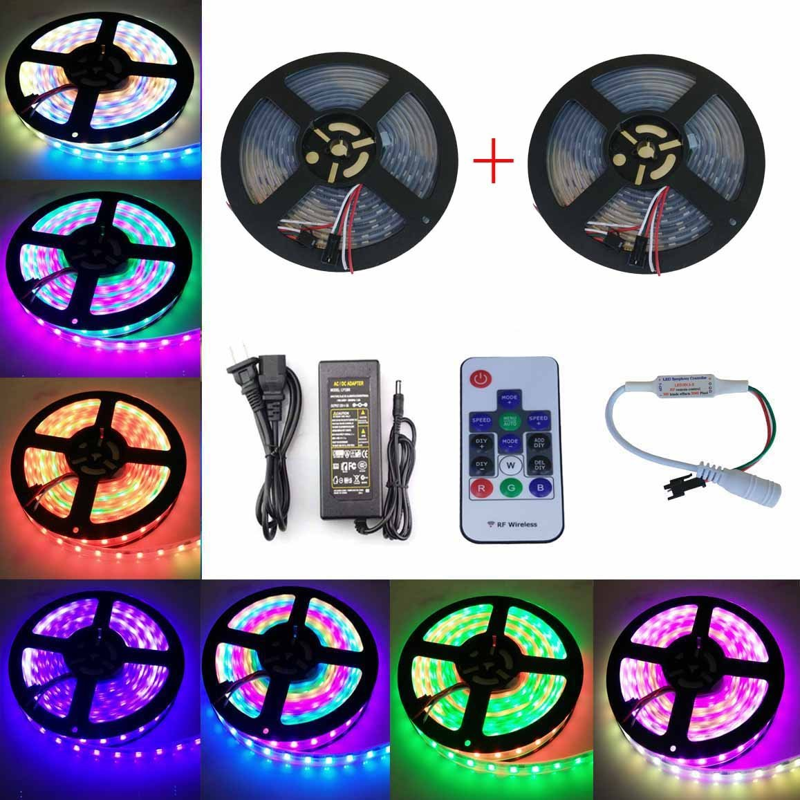 Toogod 33ft 300 Modes Magic Color RGB Strip Kit,WS2811 5050 Digital RGB Strip Light 30LED/m DC12V Led Strip,Club Bar Party Christmas Light,33ft+Controller+Power(2x 16.5ft IP67 waterproof kit)