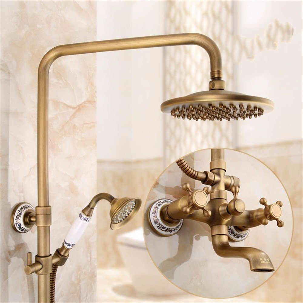 Shower Faucets Cold And Hot Mixer Faucet Shower Tap Set Bathroom Antique Sprinkler Suit All Copper Vintage Antique Bronze Shower Faucet