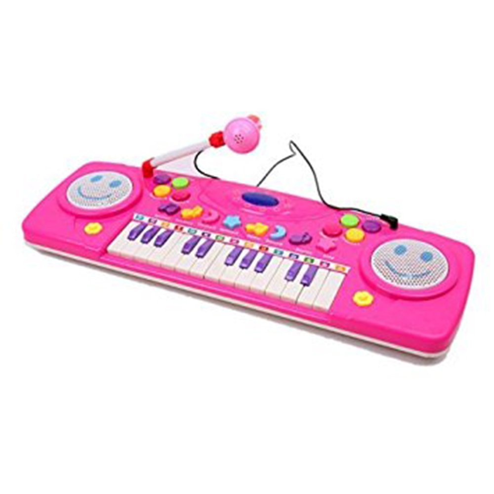 LUCKSTAR(TM) 25 Key Multi-function Cartoon Electronic Organ Toy Keyboard Baby Toy Piano Educational Toy With Microphone (Rose Red)