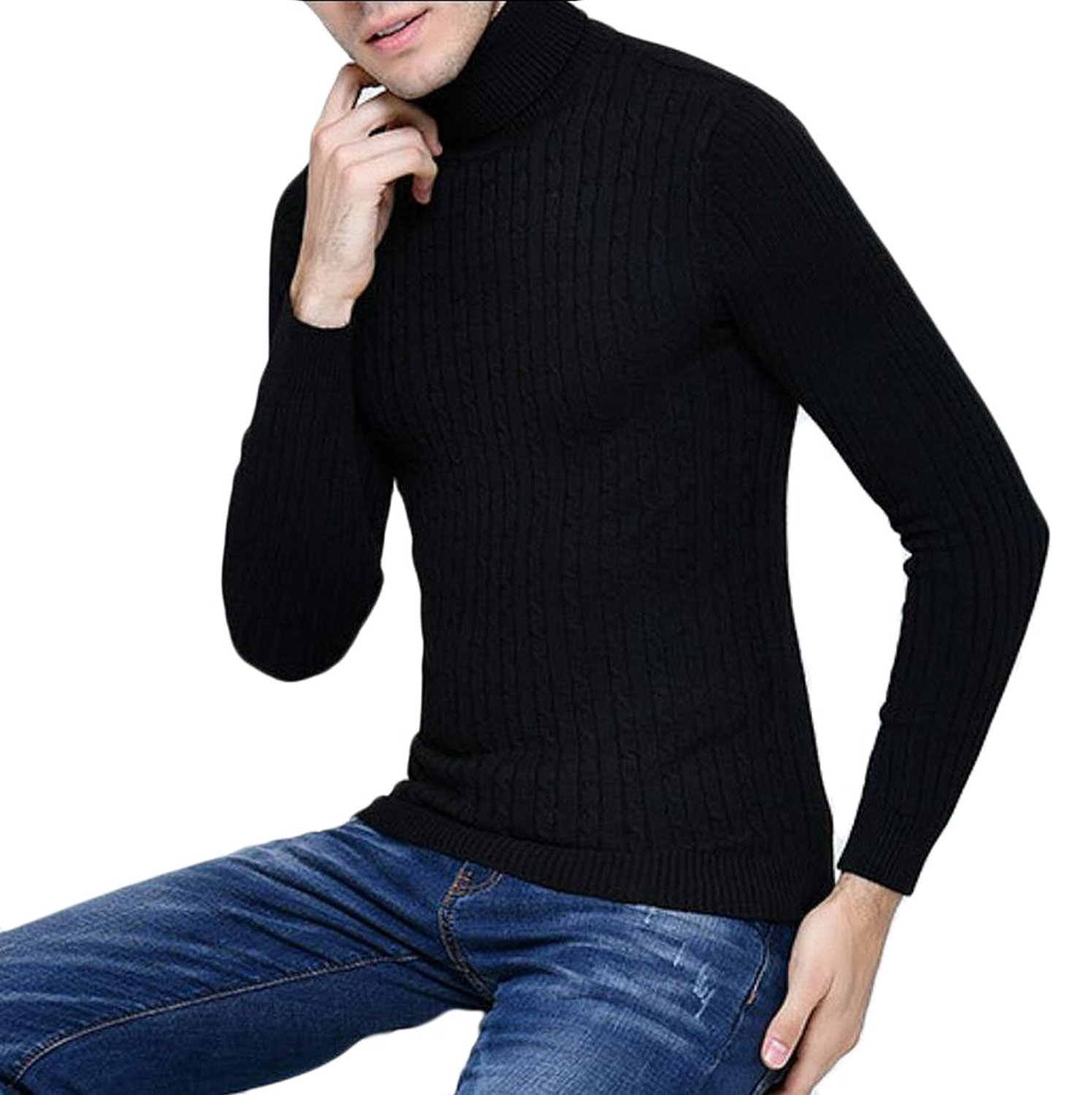 XQS Men's Fashion Slim Fit Solid Turtleneck Pullover Sweaters Pullover Tops