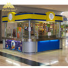 Brushed stainless steel countertops hamburger display case beverages counter fast food kiosk with ceiling