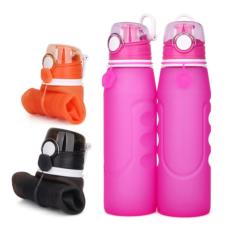 Wholesale BPA Free Foldable Silicone Sport Collapsible Water Bottle With Custom Logo, Clear;sky blue;hot pink or custom color