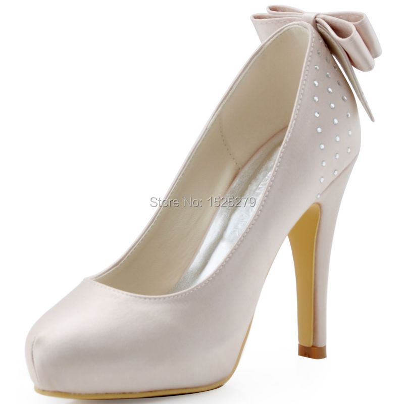 EP11034-IP Elegant Women Formal Party Pumps Beige High Heel Wedding Platform Bow Rhinestones Satin Bridal Shoes