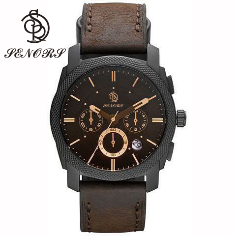 Classic belt leather men focus clock hands watches stainless steel chronograph