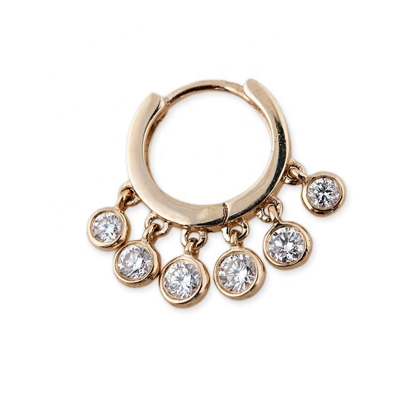 14kt rose gold delicate huggie six graduated crystal drop hoop earrings фото