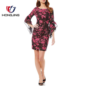 women wear Floral Embroidered Sheath Dress Boat neck3/4 bell sleeves back zipper &Key hole closure cocktailwear prom sexy dress