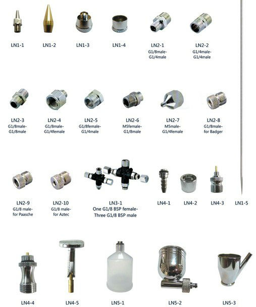airbrush spare parts spray nozzle, Air compressor spiral hose,bottle, brush,spiral air hose