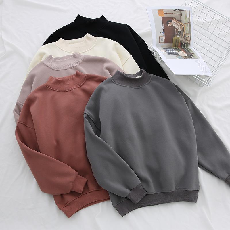 High quality blank design 100% cotton plain sweatshirt women