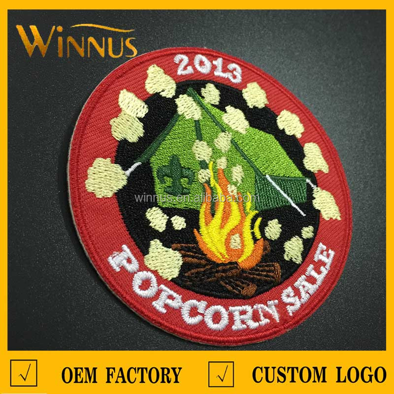 ready made round embroidered patch for sale