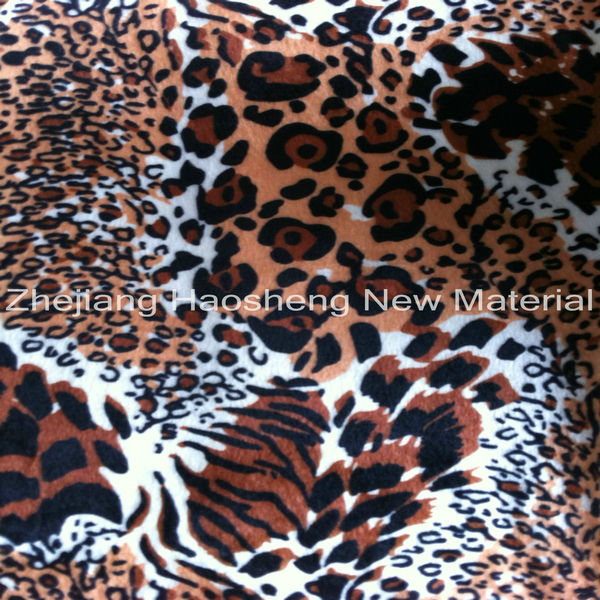 Haining Factory Paper Print Velboa Fabric Animal Skin Print Velboa fabric for Fashion Cloth