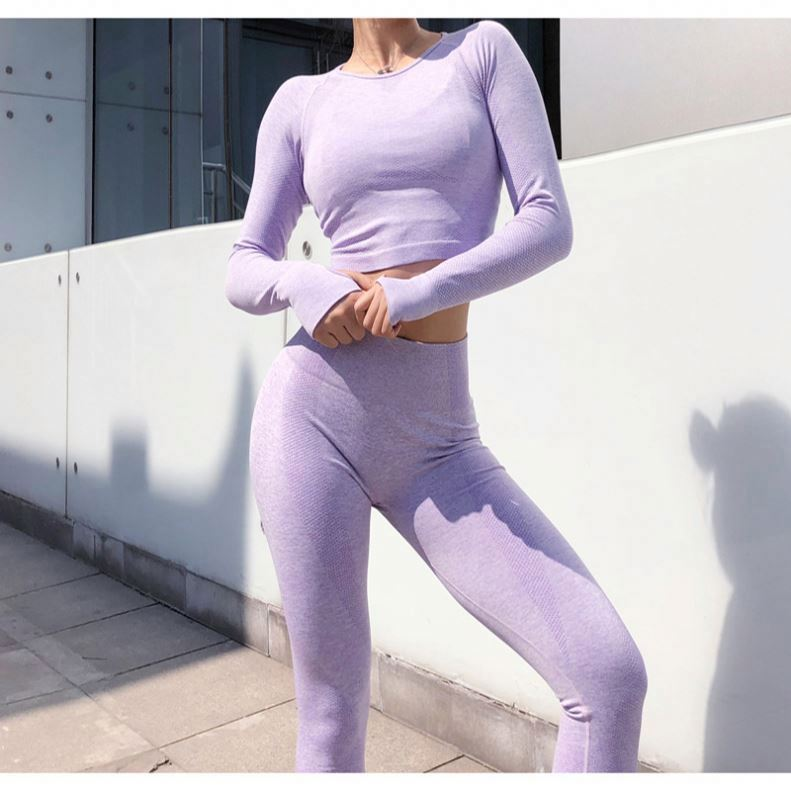 Toplook Individuelles logo Mesh Yoga Set Gymnastik Kleidung Nahtlose Leggings + Crop Tops Workout Sport Anzug Langarm Fitness Set sport S237