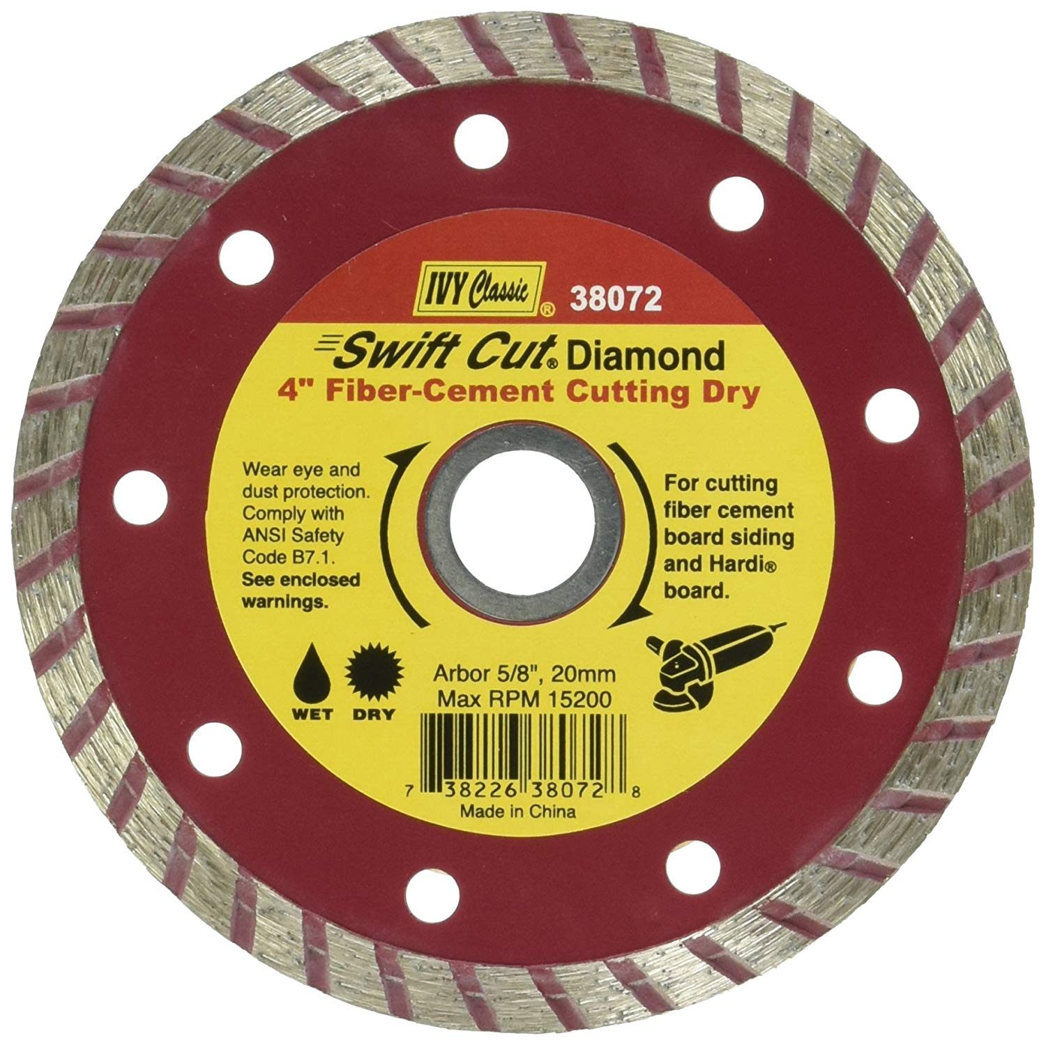 IVY Classic 38072 Swift Cut 4-1/2-Inch Dry and Wet Fiber-Cement Continuous Rim Diamond Blade with 7/8-5/8-Inch Arbor, 1/Card