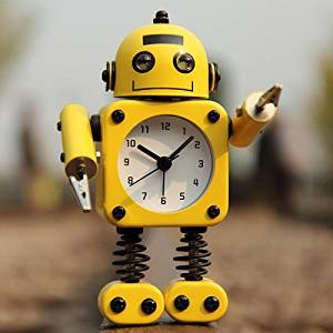 (Random Color) Creative Robot Alarm Clock Mute Clock Message Clips Home Decorative Clock Toy Gift / . : . Creative Robot Mute Alarm Clock . . The eyes will shine when the alarm is ringing .