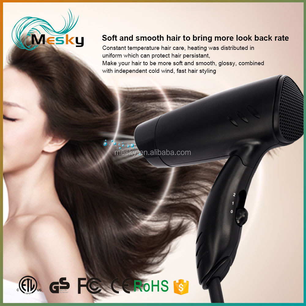 2017 Most popular 1000 watt mini foldable hair dryer, travel hair dryer,hotel hair dryer