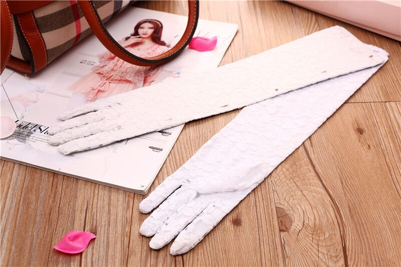 Women Wedding Bridal Full Lace Elbow Length Gloves