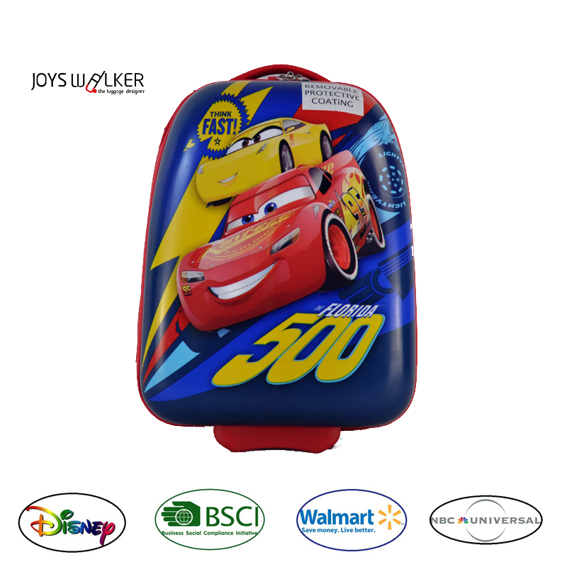 New product car design luggage printed Kids trolley school bag/suitcase 2 side wheels travel suitcase for kids/girls/boys