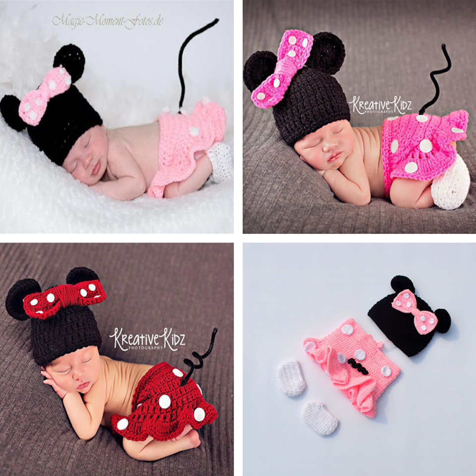 efa6c1380b1f Detail Feedback Questions about 2016 Latest Newborn Girls Minnie Costume  Crochet Baby Cartoon Hat Skirts Set Knitted Infant Baby Clothing Set MZS  16028 on ...