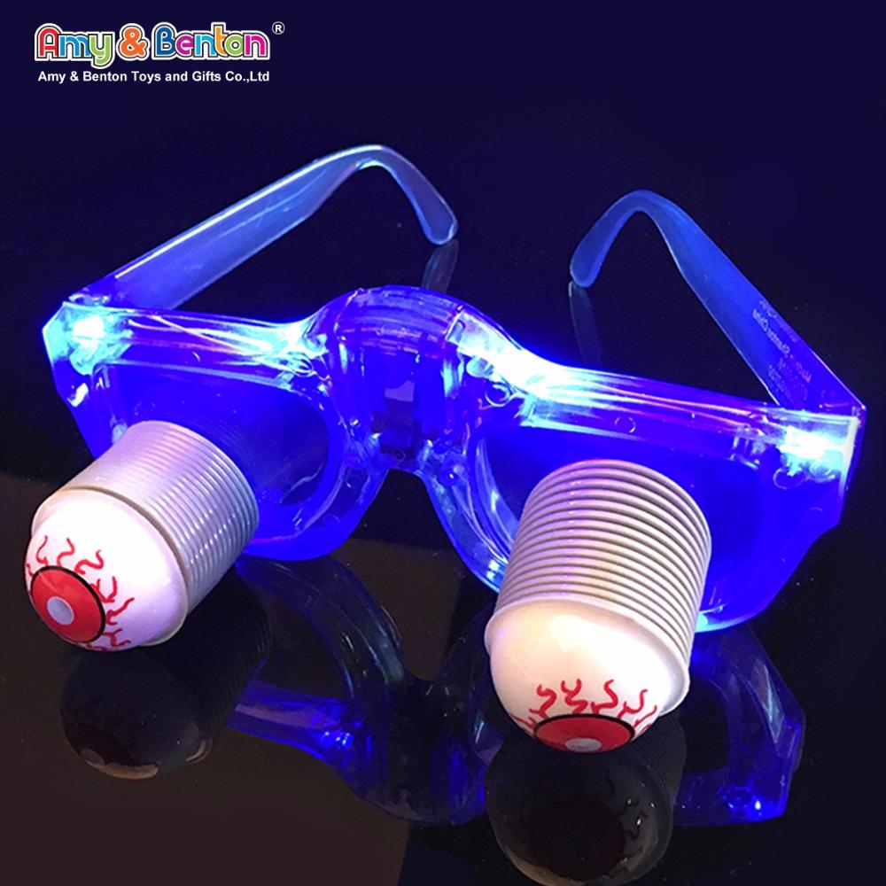 Fabrik-versorgungsmaterial halloween lustige kunststoff blinkende geführte partei gläser mit augen