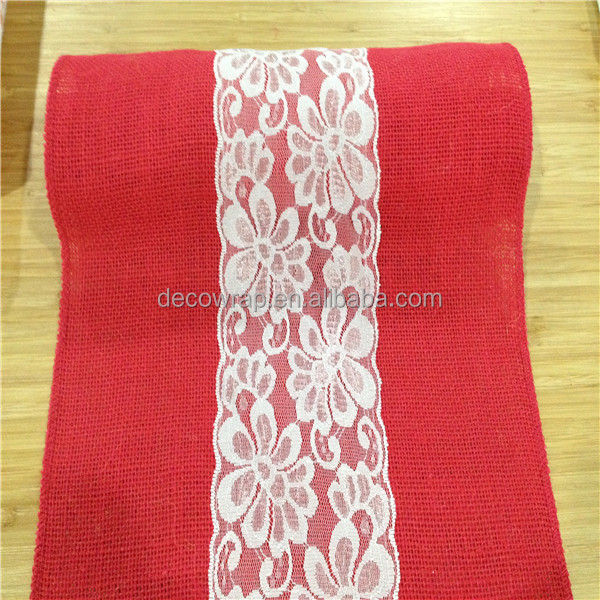 Red Linen Table Runner for Christmas and Wedding
