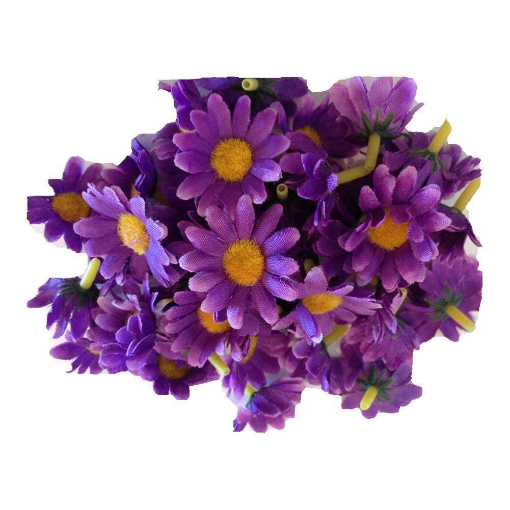 Buy 100pcs purple mini silk flower heads gerber daisies artificial purple mini silk flower heads gerber daisies artificial flowers wholesale lot for izmirmasajfo
