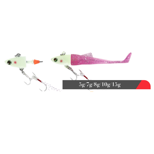 Wholesale weihai SUPER JIG2 jig fish lead fish Lead Head with T-shape tail soft lures fishing lure 3D eyes fishing jig lure