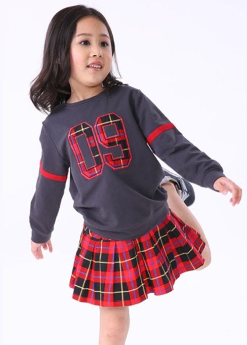 61ce4d24bb7f2 Nouveau Style 2014 Appliqued Plaid Jupe Et Blouse Haute Qualité Enfants  Vêtements
