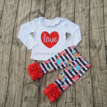 newest baby valentine boutique outfits girls love heart printing valentines day clothes sets with floral striped
