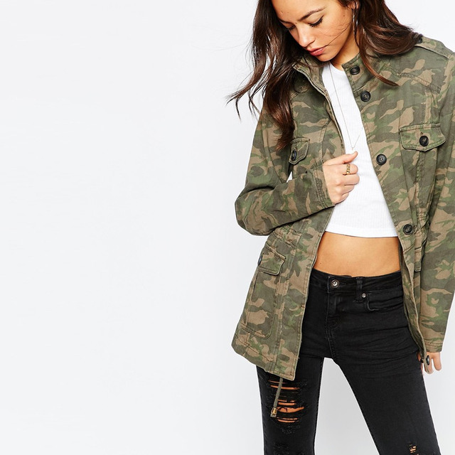 Custom design everyday jacket for women pure cotton camouflage canvas jacket wholesale women cotton military camo jacket