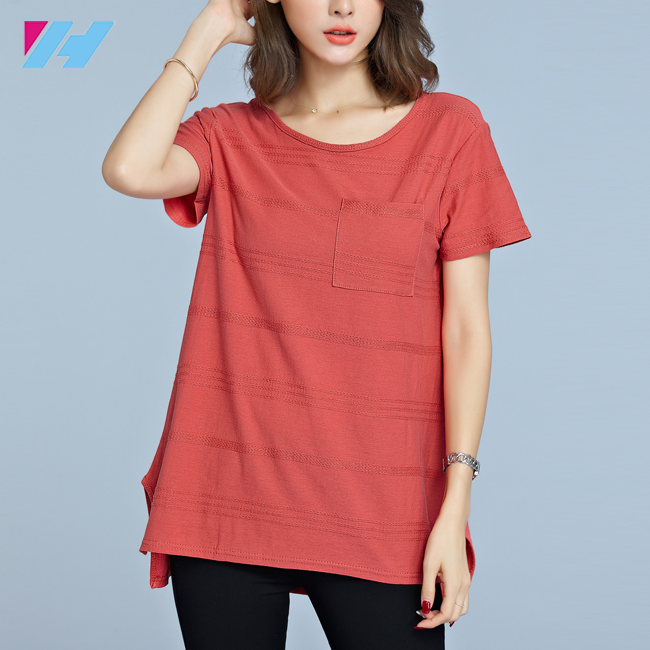Summer Women fashion comfortable Cotton Striped O-Neck casual t-shirt