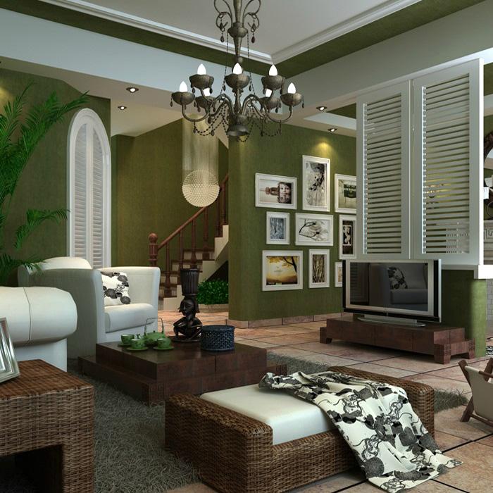 Solid Color Olive Green Wallpaper Sofa Wallpaper Plain