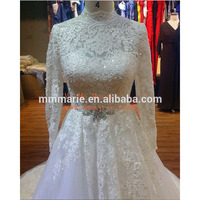 Muslim wedding dress long sleeve corset wedding gown sweep train lace beaded ball gown Luxury Dubai wedding dress for bridal