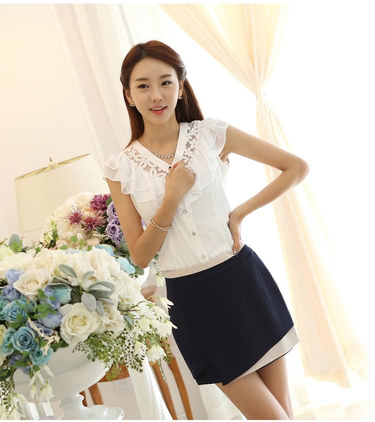 1716576f32f82 Summer 2015 Blouse Female Polyester Sleeveless Ruffles White Lace Ruffles Chiffon  Blouse Hollow Out Cardigan Women Clothing