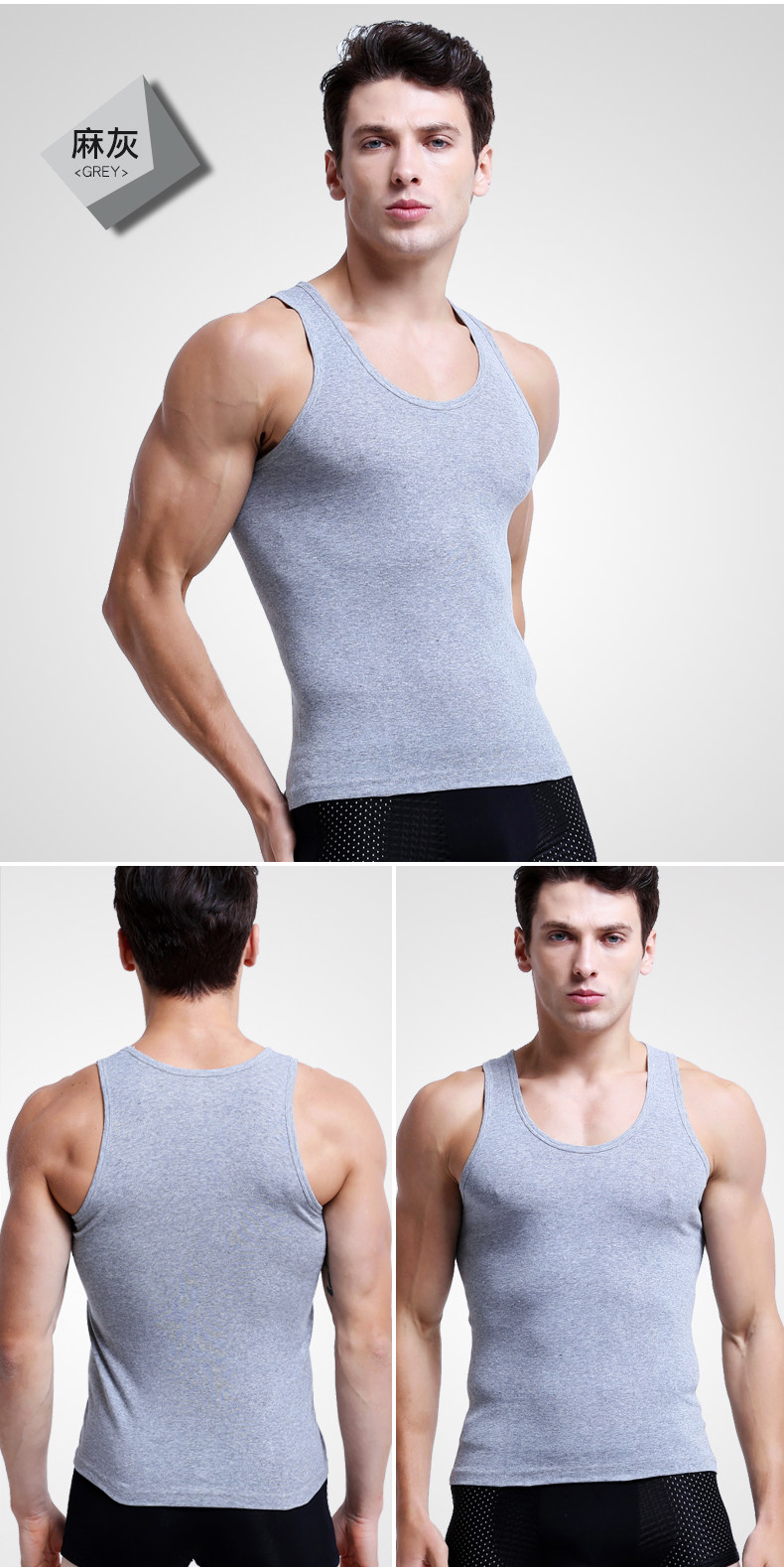 Bodybuilding tank top fitness blank cotton and spandex quick-drying mens tank top