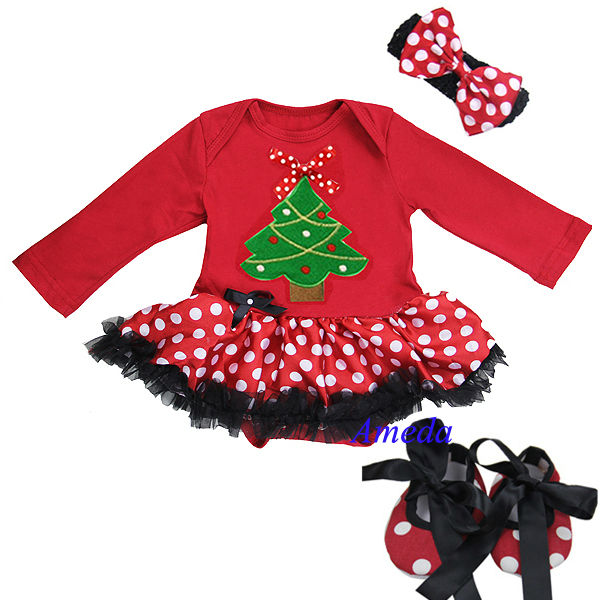 Baby Red Polka Dots Black Ruffles Xmas Tree Bow Long Sleeves Jumpsuit Bodysuit Pettiskirt Jumpsuit Headband Crib Shoes 3pcs