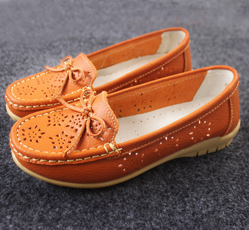 Genuine leather women flat casual shoes