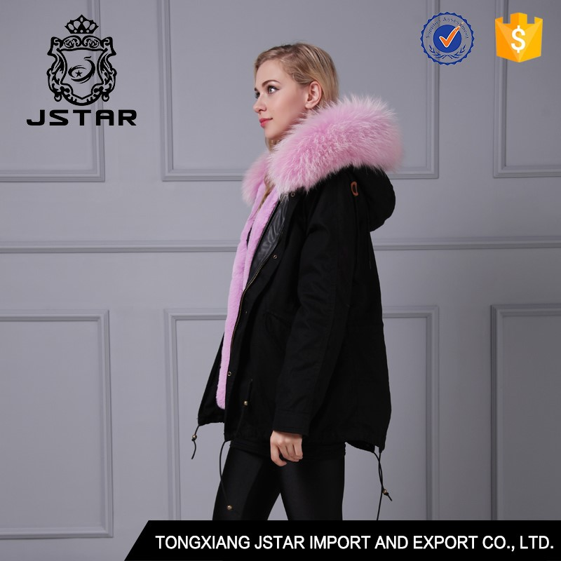 Hot new fashion european style elegant winter pink faux fur coats
