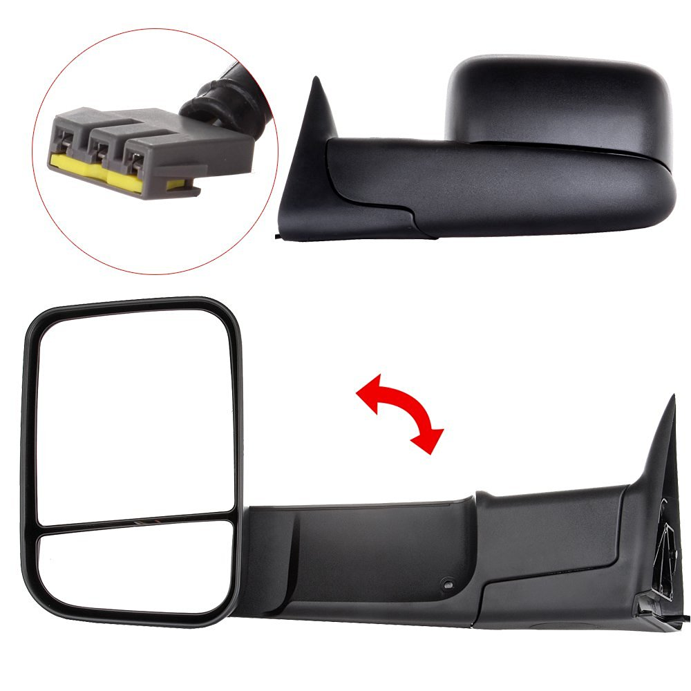 Scitoo Black Side Rear View Towing Mirrors Power Operation Side Rearview Tow Towing Mirror for 94-97 Dodge Ram 1500 2500 3500 Mirrors Left Right Pair Set (1994-1997 Power)