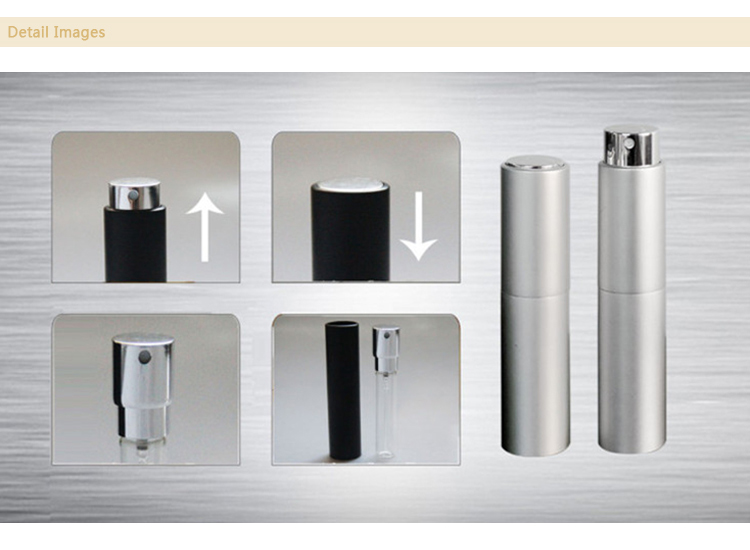 5ml 8ml 10ml 12ml 15ml New design mini luxury empty aluminum refillable twist up travel perfume pump spray atomizer