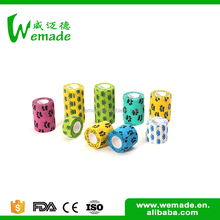 Wuxi Wemade Factory directly provide high quality colored veterinary cartoon printed elastic bandage medical vet wrap