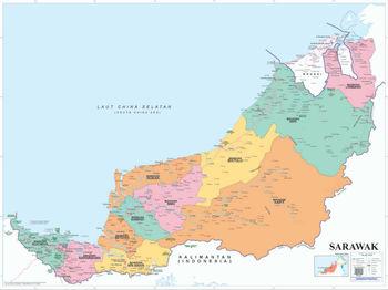 Political Map Of Sarawak Buy Malaysia Political Map Sarawak