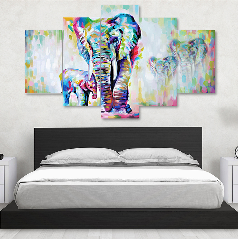 5 Pieces Canvas Art Painting African Modern Elephants Living Room