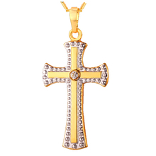 China Factory Men Fashion Stainless Steel Chain Crystal Cross 24K Gold Jewelry Necklace Models