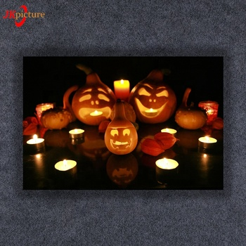 Halloween/thanksgiving canvas printings, cheap canvas wall art with led