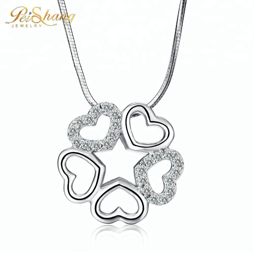 Fashion accessories women jewelry heart shape rose gold pendant