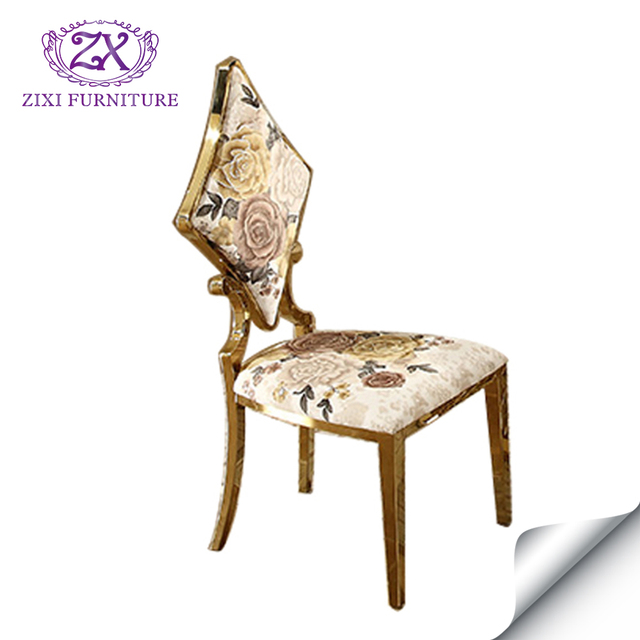 Classic dining room furniture metal chair with colorful fabric of different Poker shape back