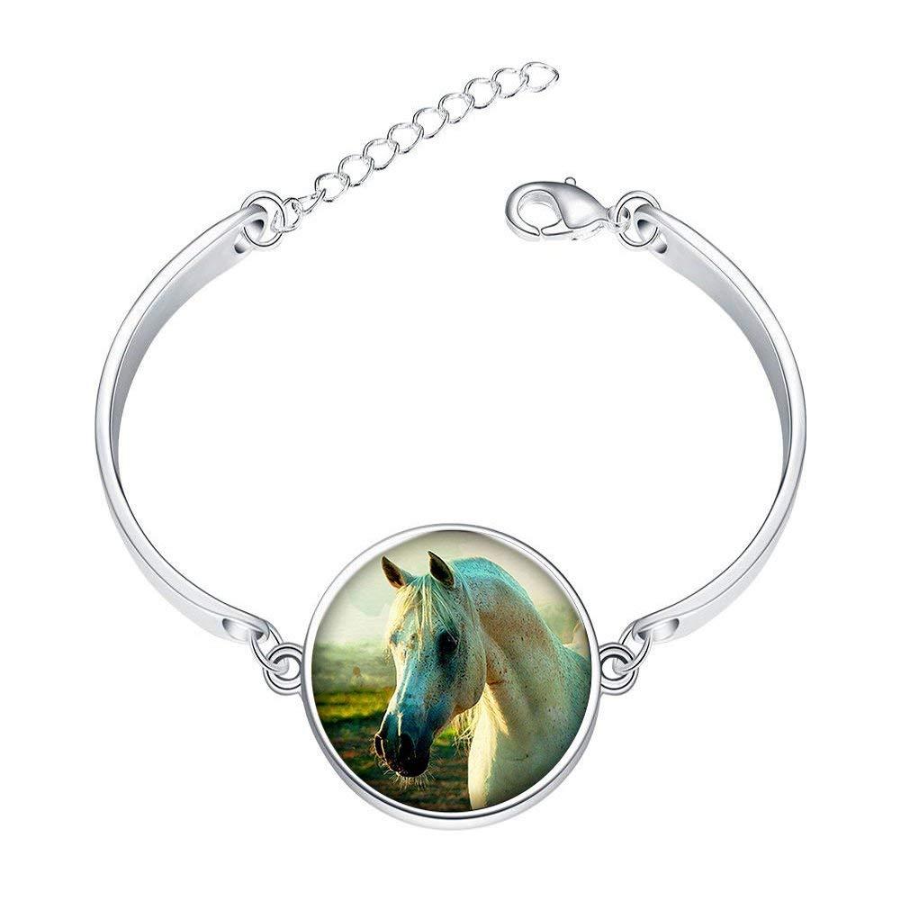 Adjustable Sterling Silver Bracelets Reality Grassland Horse Alloy Bangle Custom Image Glass Cabochon Brace Lace